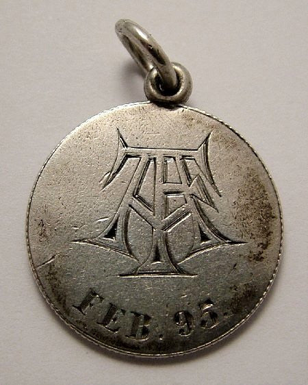 Victorian Silver Engraved Love Token Coin Charm TFA Feb '95 - Sandy's Vintage Charms
