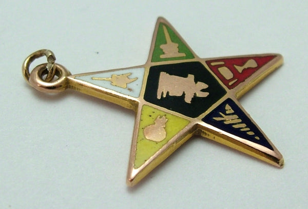 Vintage 1970's Solid 9ct Gold & Enamel Masonic Order of the Eastern Star Pendant/Charm Gold Charm - Sandy's Vintage Charms