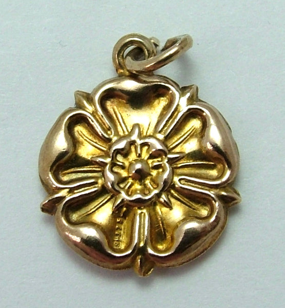 Vintage 1950's 9ct Gold Puffed Tudor Rose Charm Gold Charm - Sandy's Vintage Charms