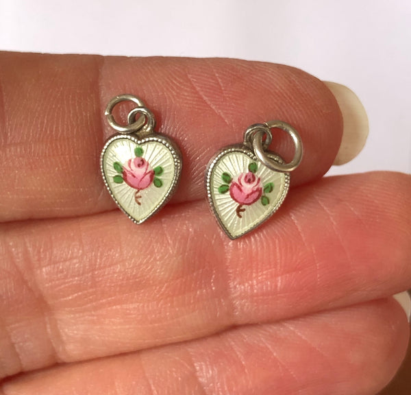 Small Vintage 1950's Silver & Enamel Heart Charm with Pink Rose Enamel Charm - Sandy's Vintage Charms