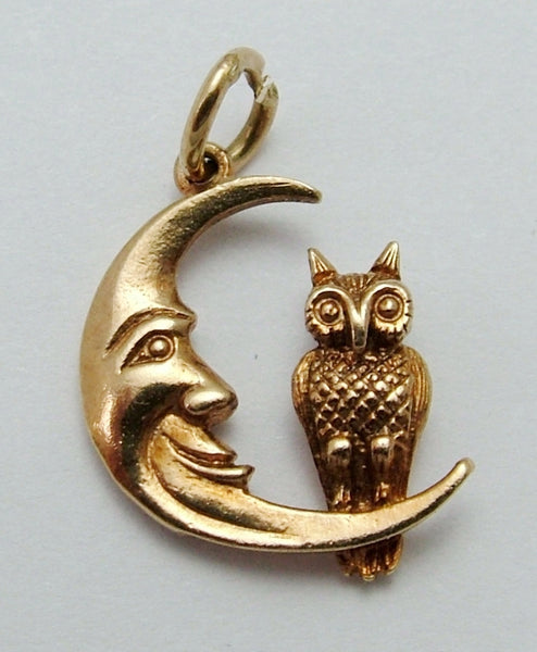 Vintage 1970's Solid 9ct Gold Owl & The Man in the Moon Charm