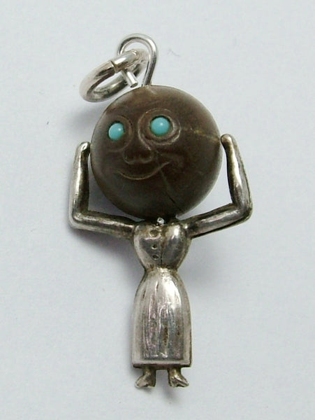 Antique WWI Silver & Wood Lady Touch Wood Charm with Turquoise Eyes Antique Charm - Sandy's Vintage Charms