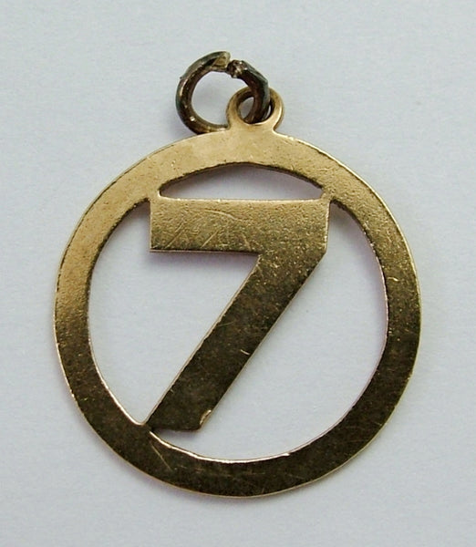 Vintage 1950's Solid 9ct Gold Lucky Number '7' Disc Charm