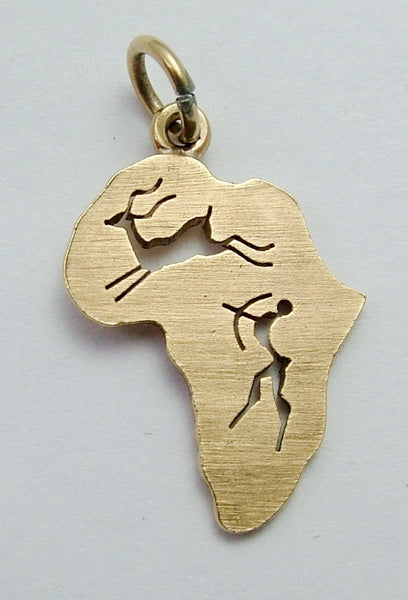 Vintage 1960's 9ct Gold Map of Africa Charm with Cut Out Figures