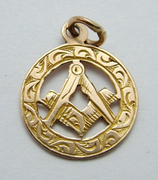 Small Antique Edwardian c1910 Solid 9ct Gold Masonic Disc Charm Antique Charm - Sandy's Vintage Charms