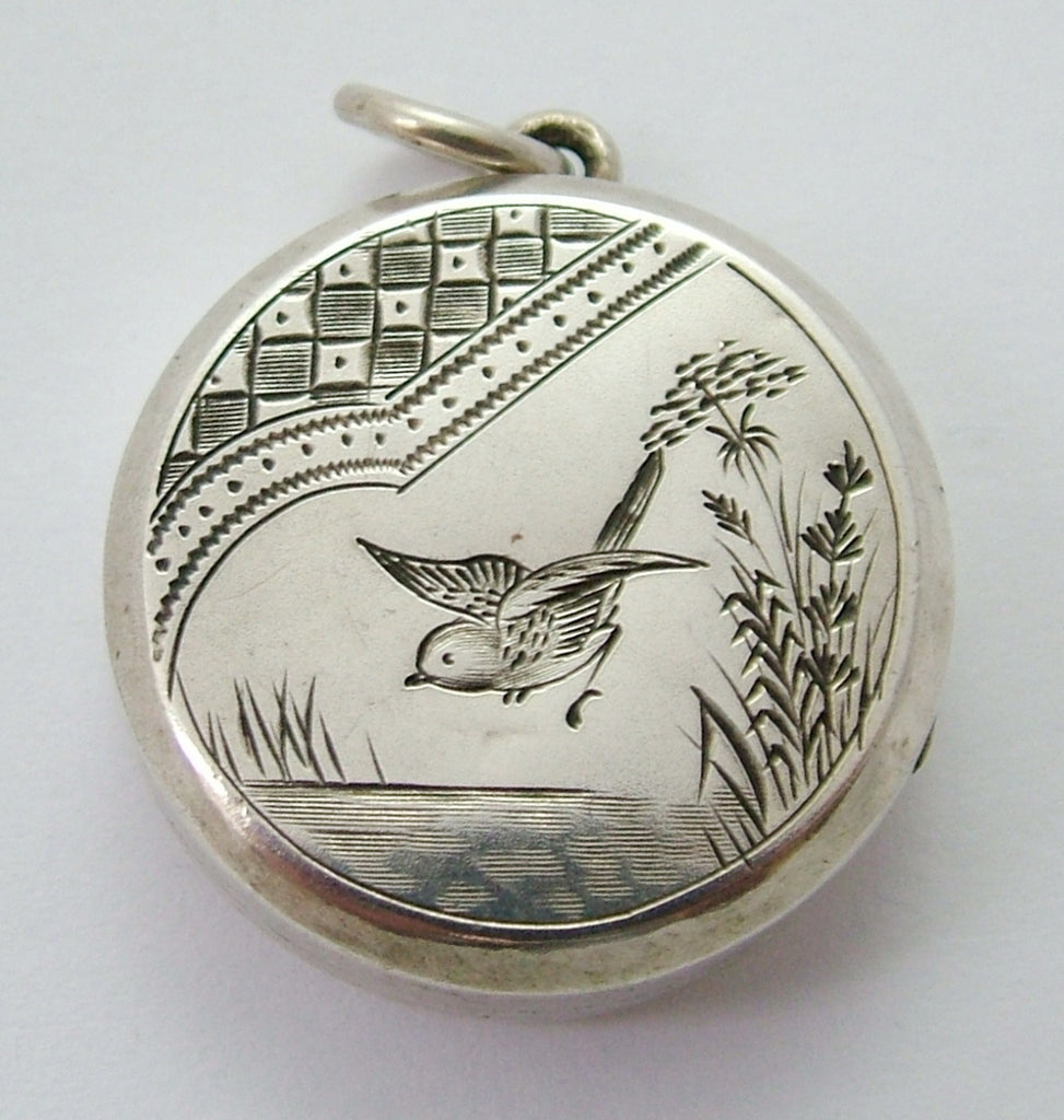 Large Antique Victorian Aesthetic Movement Silver Bird Locket HM 1880 Antique Charm - Sandy's Vintage Charms