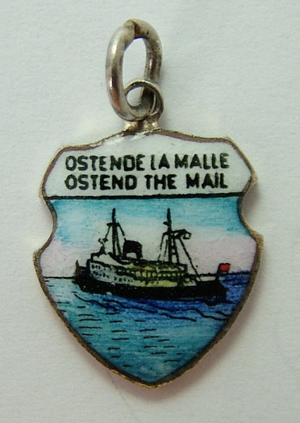 1960's Silver Plated & Enamel Shield Charm for OSTEND The MAIL SHIP Shield Charm - Sandy's Vintage Charms