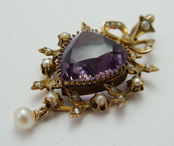 Large Antique Victorian 9ct Gold Seed Pearl & Faceted Amethyst Heart Charm or Pendant Antique Charm - Sandy's Vintage Charms