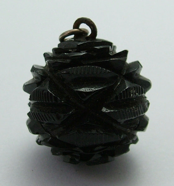Large Antique Victorian c1890 Carved Whitby Jet Bead Charm Antique Charm - Sandy's Vintage Charms