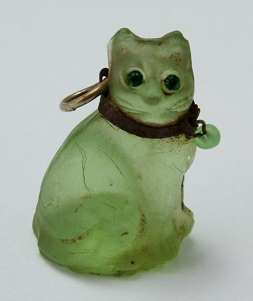 Antique c1910-1920's Pale Green Frosted Czech Glass Cat Charm Antique Charm - Sandy's Vintage Charms