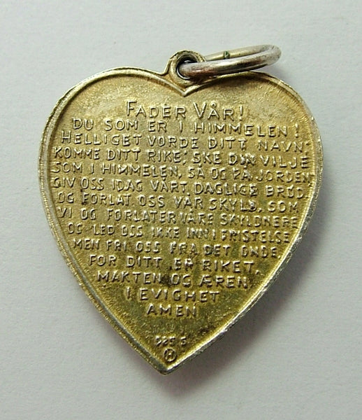 1960's Scandinavian Silver Gilt & Guilloche Enamel Heart Charm with Lord's Prayer - Sandy's Vintage Charms