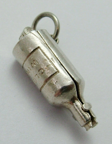 Vintage 1960's Silver Opening Nuvo Wine Bottle Charm Ship Inside Nuvo Charm - Sandy's Vintage Charms