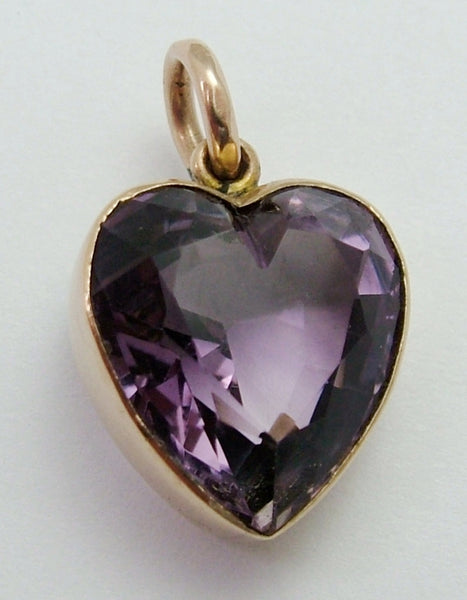 Antique Edwardian 9ct Rose Gold & Faceted Amethyst Heart Charm Antique Charm - Sandy's Vintage Charms
