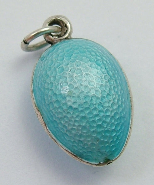 Antique Edwardian Silver & Turquoise Guilloche Enamel Egg Charm Antique Charm - Sandy's Vintage Charms