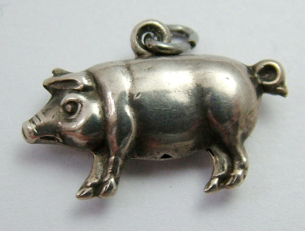 Antique Victorian c1900 Hollow Silver Lucky Pig Charm Antique Charm - Sandy's Vintage Charms