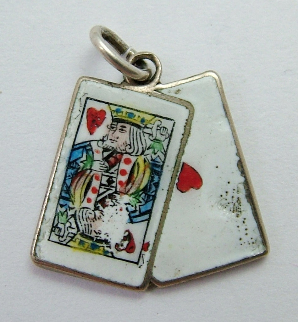 Vintage 1950's Silver Plated & Enamel Playing Cards Charm King & Ace of Hearts Enamel Charm - Sandy's Vintage Charms