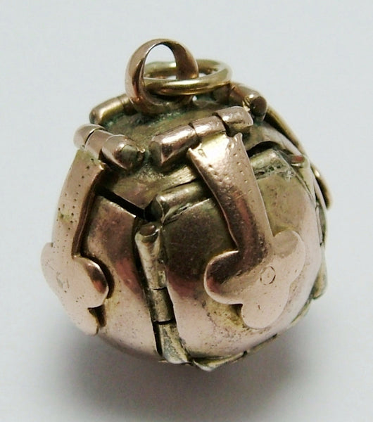 Antique Edwardian c1910 9ct Rose Gold & Silver Opening Masonic Ball Charm Antique Charm - Sandy's Vintage Charms