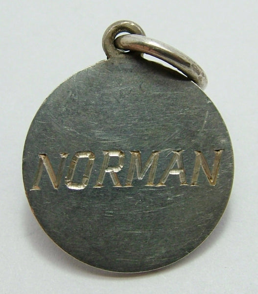 "George V Silver Engraved Love Token Coin Charm ""NORMAN"" Love Token - Sandy's Vintage Charms"