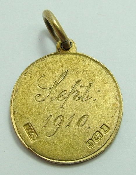 Edwardian Silver Gilt Engraved Love Token Disc Charm 'FVR Sept 1910' Antique Charm - Sandy's Vintage Charms