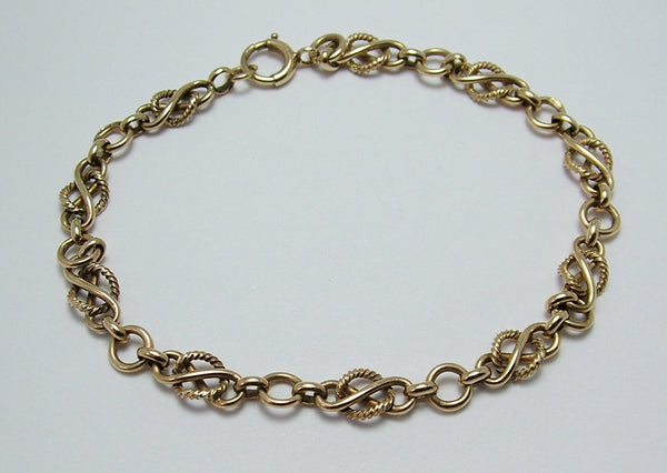 Long Vintage 1950's English Solid 9ct Gold Bracelet with Bolt Ring Fastener HM 1952 Bracelet - Sandy's Vintage Charms