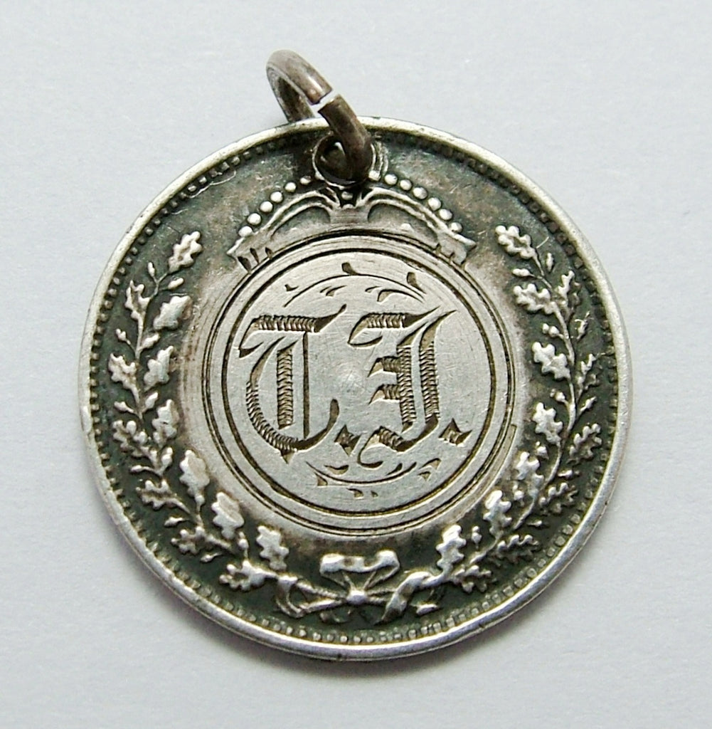 Antique Victorian Silver Engraved Love Token Coin Charm TJ Love Token - Sandy's Vintage Charms
