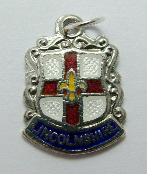 Vintage 1960's Silver & Enamel Shield Charm for LINCOLNSHIRE Shield Charm - Sandy's Vintage Charms
