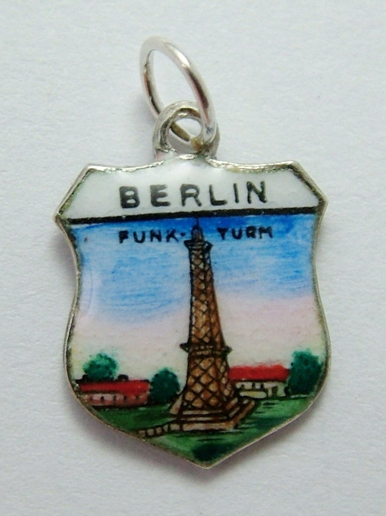 Vintage 1960's Silver & Enamel Shield Charm for BERLIN in Germany Shield Charm - Sandy's Vintage Charms