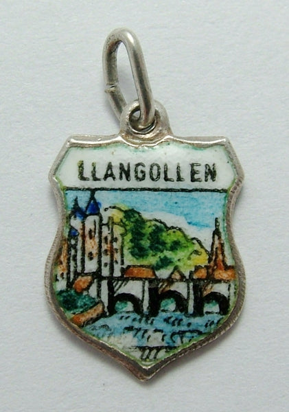 Vintage 1960's Silver & Enamel Shield Charm for LLANGOLLEN in Wales Shield Charm - Sandy's Vintage Charms