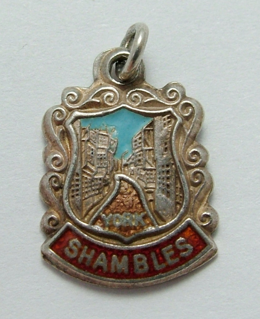 Vintage 1960's Silver & Enamel Shield Charm for The SHAMBLES in York Shield Charm - Sandy's Vintage Charms