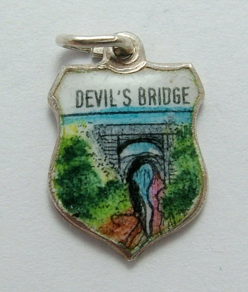 Vintage 1960's Silver & Enamel Shield Charm for DEVIL'S BRIDGE  in Wales Shield Charm - Sandy's Vintage Charms