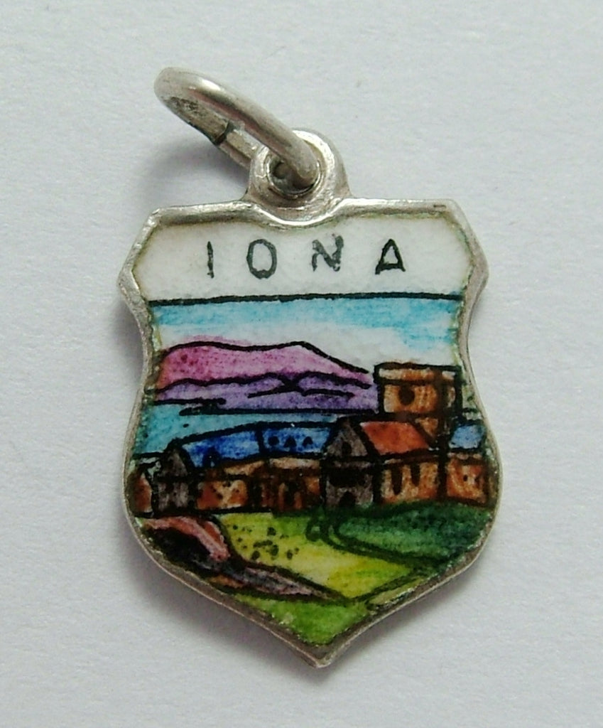 Vintage 1960's Silver & Enamel Shield Charm for the Island of IONA in Scotland Shield Charm - Sandy's Vintage Charms