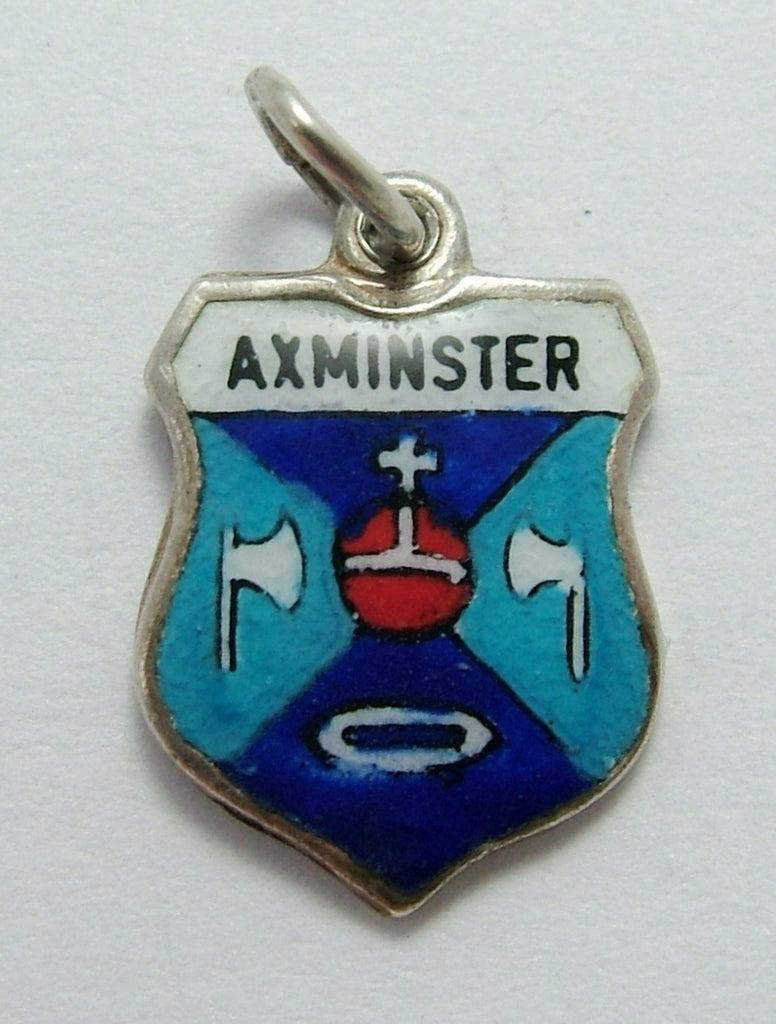 Vintage 1960's Silver & Enamel Shield Charm for AXMINSTER in Devon Shield Charm - Sandy's Vintage Charms