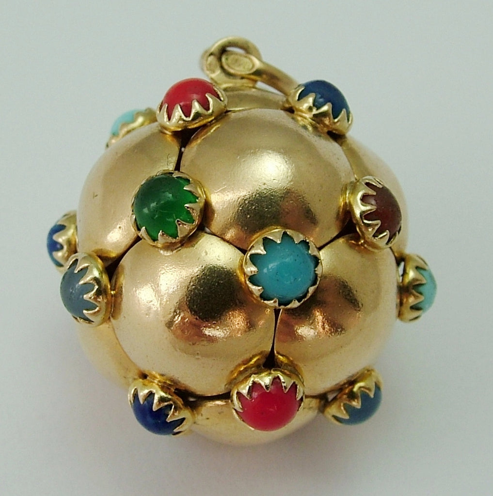 Very Large Vintage 1950's/1960's 18ct 18k Gold Gem Ball Charm Gold Charm - Sandy's Vintage Charms