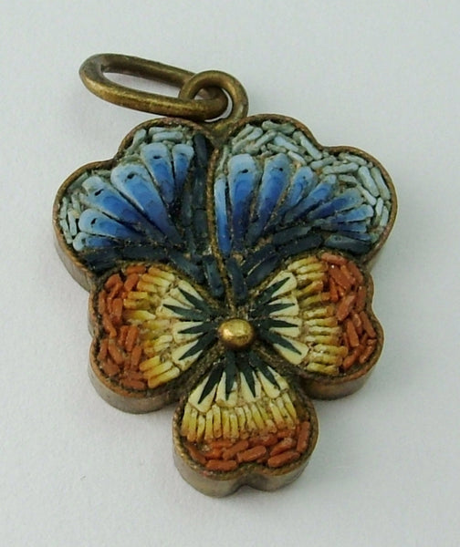 Vintage 1920's Brass & Micro Mosaic Pansy or Viola Flower Charm 1920s-1950s Charm - Sandy's Vintage Charms