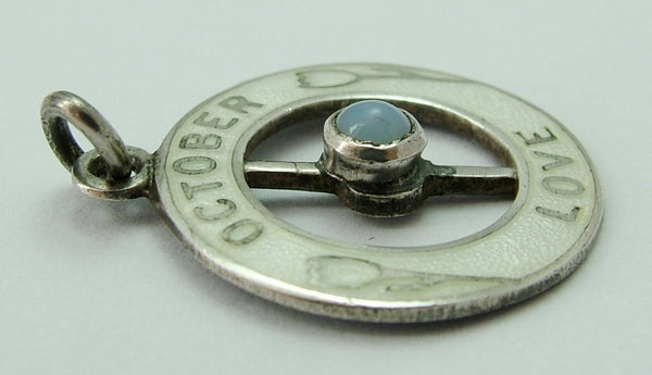 Antique 1914 Silver & White Enamel October Love Charm Set With an Opal Antique Charm - Sandy's Vintage Charms