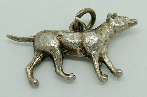 Antique Victorian Silver Puffed Dog Charm HM 1897 Antique Charm - Sandy's Vintage Charms