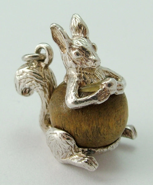 Vintage 1960's Silver Touch Wood Squirrel Charm Silver Charm - Sandy's Vintage Charms