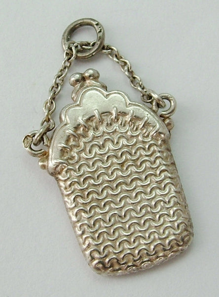 Vintage 1950's Silver Puffed (Hollow) Purse Charm with Chain Strap Antique Charm - Sandy's Vintage Charms