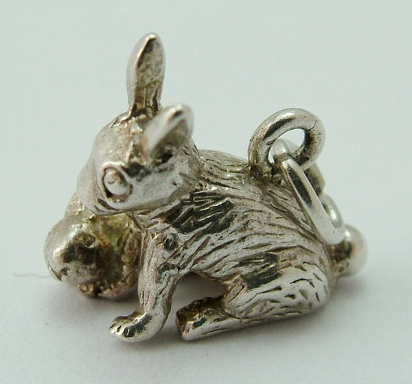 Vintage 1970's Solid Silver Mother & Baby Bunny Rabbit Charm Silver Charm - Sandy's Vintage Charms