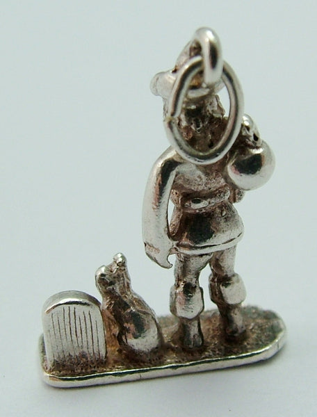 Vintage 1960's Silver Dick Whittington and His Cat Charm Silver Charm - Sandy's Vintage Charms