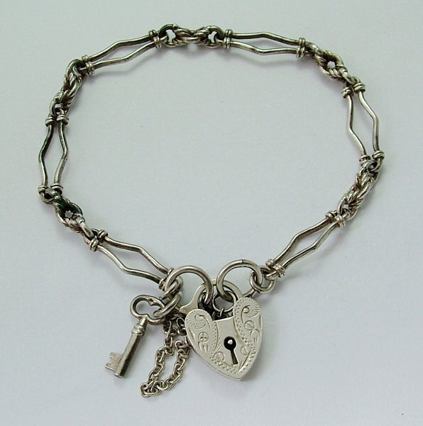 Vintage 1970's Silver Padlock, Fancy Link Bracelet & Key 7.5 Inches Long & 10g Bracelet - Sandy's Vintage Charms