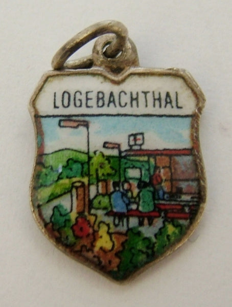 1960's Silver & Enamel Shield Charm for LOGEBACHTHAL in Germany Shield Charm - Sandy's Vintage Charms