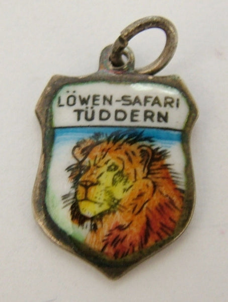 1960's Silver & Enamel Shield Charm for LÖWEN SAFARI TÜDDERN Shield Charm - Sandy's Vintage Charms