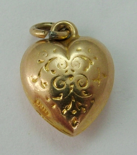Small Vintage 1950's 9ct Gold Puffed Heart Charm Gold Charm - Sandy's Vintage Charms