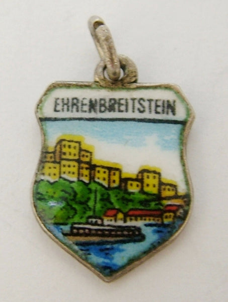 1960's Silver & Enamel Shield Charm for EHRENBREITSTEIN in Germany Shield Charm - Sandy's Vintage Charms