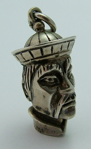 Large Vintage 1960's Solid Silver Head of an Oriental Man Charm Silver Charm - Sandy's Vintage Charms