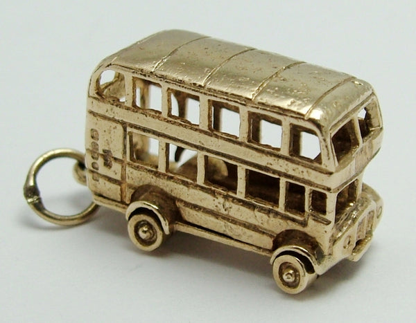 Vintage 1970's 9ct Gold Double Decker Bus Charm with Moving Wheels Gold Charm - Sandy's Vintage Charms