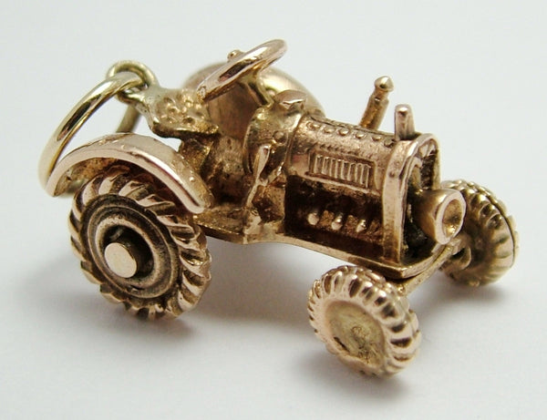 Heavy Vintage 1960's Solid 9ct Rose Gold Tractor Charm with Moving Wheels Gold Charm - Sandy's Vintage Charms