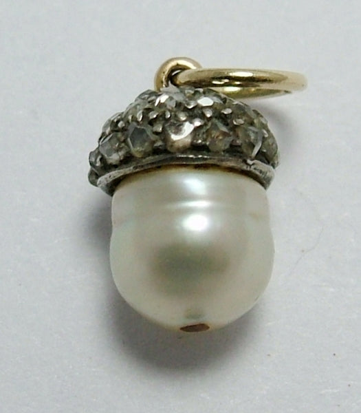 Antique Victorian 9ct Gold & Silver Rose Cut Diamond & Pearl Acorn Charm Antique Charm - Sandy's Vintage Charms