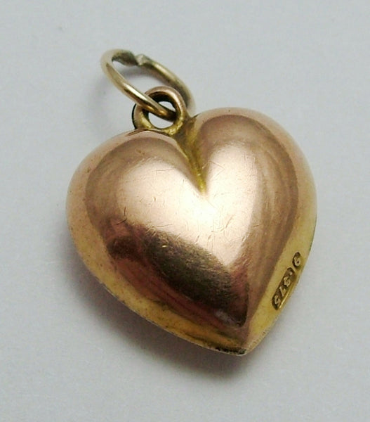 Antique Victorian 9ct Rose Gold Puffy Heart Charm HM 1899 Antique Charm - Sandy's Vintage Charms